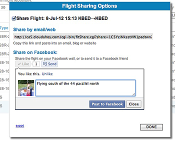 the Share dialog box